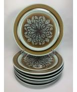 "7 Franciscan Earthenware Dinner Plates Nut Tree Pattern 10.25"" Blue & Brown - $59.39"