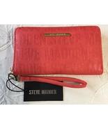 STEVE MADDEN WALLET Coral Stamped Logo Zip Around Organizer Wristlet MSR... - $37.99