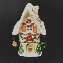 Holiday Luminary Christmas House Tea Light Handpainted - $39.20