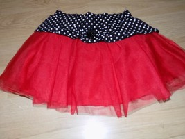 Size 6 Disney Minnie Mouse Red Tulle Skirt Black White Polka Dot Waist GUC - $12.00