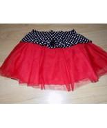 Size 6 Disney Minnie Mouse Red Tulle Skirt Black White Polka Dot Waist GUC - $12.00