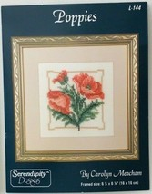 """Poppies Counted Cross Stitch Design #L-144 6.25"""" x 6.25"""" Serendipity Des... - $6.89"""