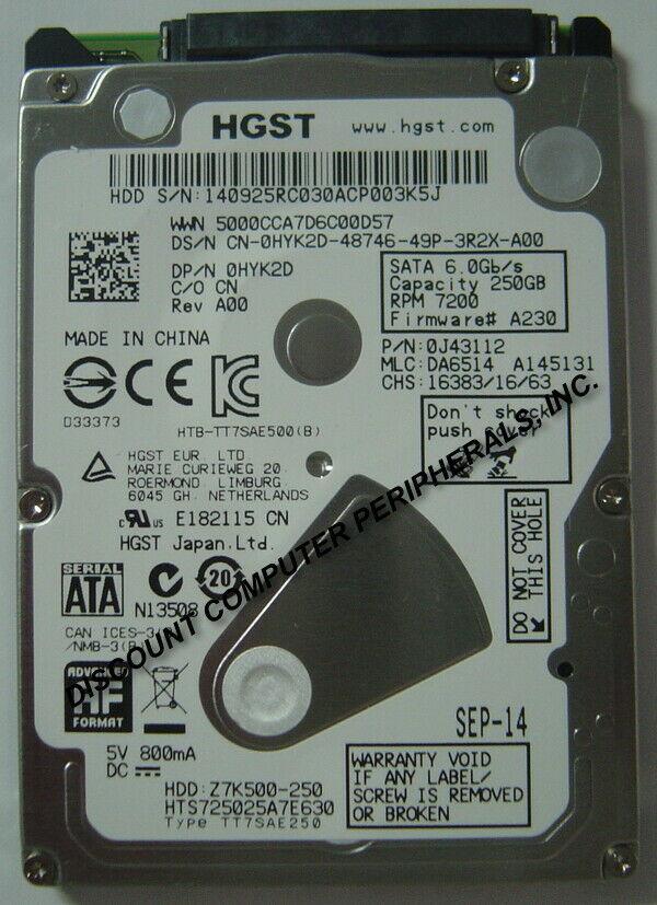 "NEW 250GB Hitachi SATA III 2.5"" 9.5MM hard drive HTS725025A7E630 Free USA Ship"