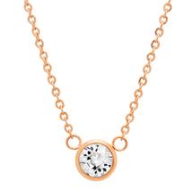 "PIATELLA 18K Rose Gold Plated Solitare necklace adorned Swarovski Crystal 18"" - $14.99"