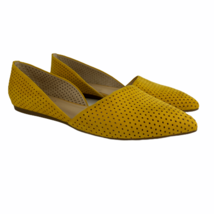 Franco Sarto D'orsay Flats 7.5 Yellow Slip On Shoes Pointed Toe Perforated Women - $38.54