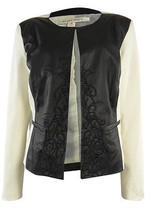 Ellen Tracy Blazer Faux-Leather Coat Jacket Embroidered Sz S creme black... - $32.66