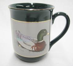 Otagiri Mallard Duck on Dark Green Mug Gilded Edge for Gibson Greeting Cards - $14.10