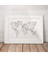 Abstract World Map Canvas Art Print Wall Pictures , Geometric Low Poly M... - $30.76