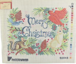 Vintage 1970's Paternayan Hand Painted Needlepoint Merry Christmas in th... - $36.37