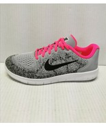 Nike Kid's Free RN 2017 Running Shoes Wolf Grey /Pink 5.5Y (M) Big Kid S... - $59.39