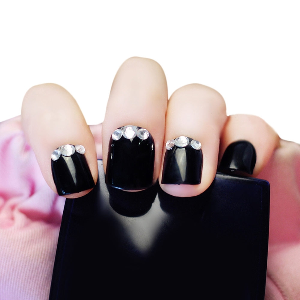 24pcs Rhinestone Decoration Nail Art False Nails(BLACK)