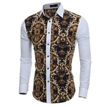 2016 Large Vintage Floral Prints Mens Dress Shirts Long sleeve Slim Fit ... - $47.72