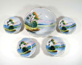 Swan Serving Bowl Snack Set Vintage Japan Hand Painted Porcelain 5 Piece... - $34.00