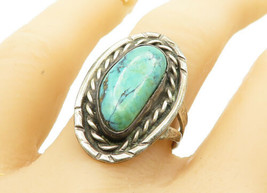 SOUTHWESTERN 925 Silver - Vintage Antique Turquoise Cocktail Ring Sz 9 -... - $30.23