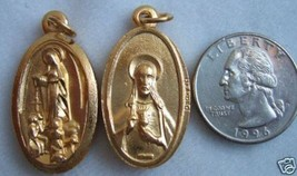 Catholic Medal Our Lady of Fatima & Sacred Heart of Jesus PEWTER / GP - $10.39