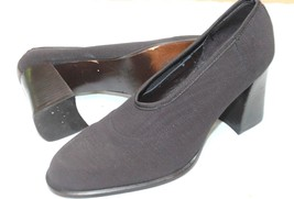 NINE WEST VTG SIZE 7 1/2 M BROWN STRETCH ELASTIC STACK HEEL SLIP ON PUMP... - $4.95
