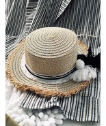 Stylish Yacht Club Beige 100% Paper Straw Hat Summer Cool Natural Materials! - $14.85