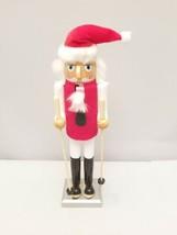 """Christmas Collectible Santa Ski Skiing Nutcracker with Santa Hat 16"""" Tall - $12.86"""