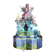 Forest Rhapsody Rotation Music Box with Colorful LED Lights, 3D Metal Puzzle DIY