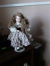Porcelain doll in long ash blonde curls 15 inches  - $36.62