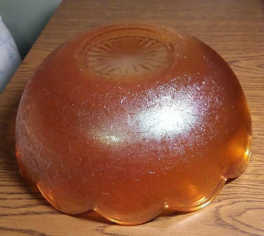 "Vintage Carnival Glass Marigold by Jeanette Crackle pattern 7 1/2"" diameter bowl image 3"