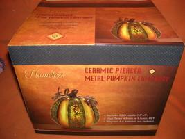 TRP Flameless Ceramic Pierced Metal Pumpkin Luminary #RL05133V UPC:82342... - $24.75