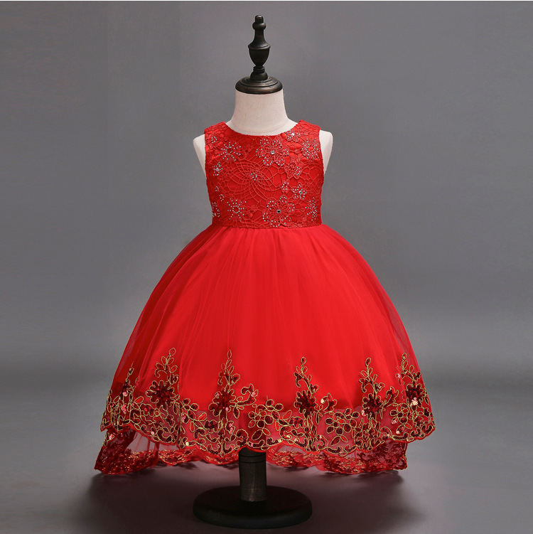 Red Tull High Low Flower Girl Dress Gold Lace Kids Party Gowns Pricess Prom 2018