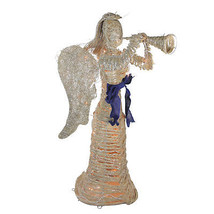 """51"""" Lighted Glitter Dusted Rattan Angel with Horn Christmas Yard Decoration - $172.00"""