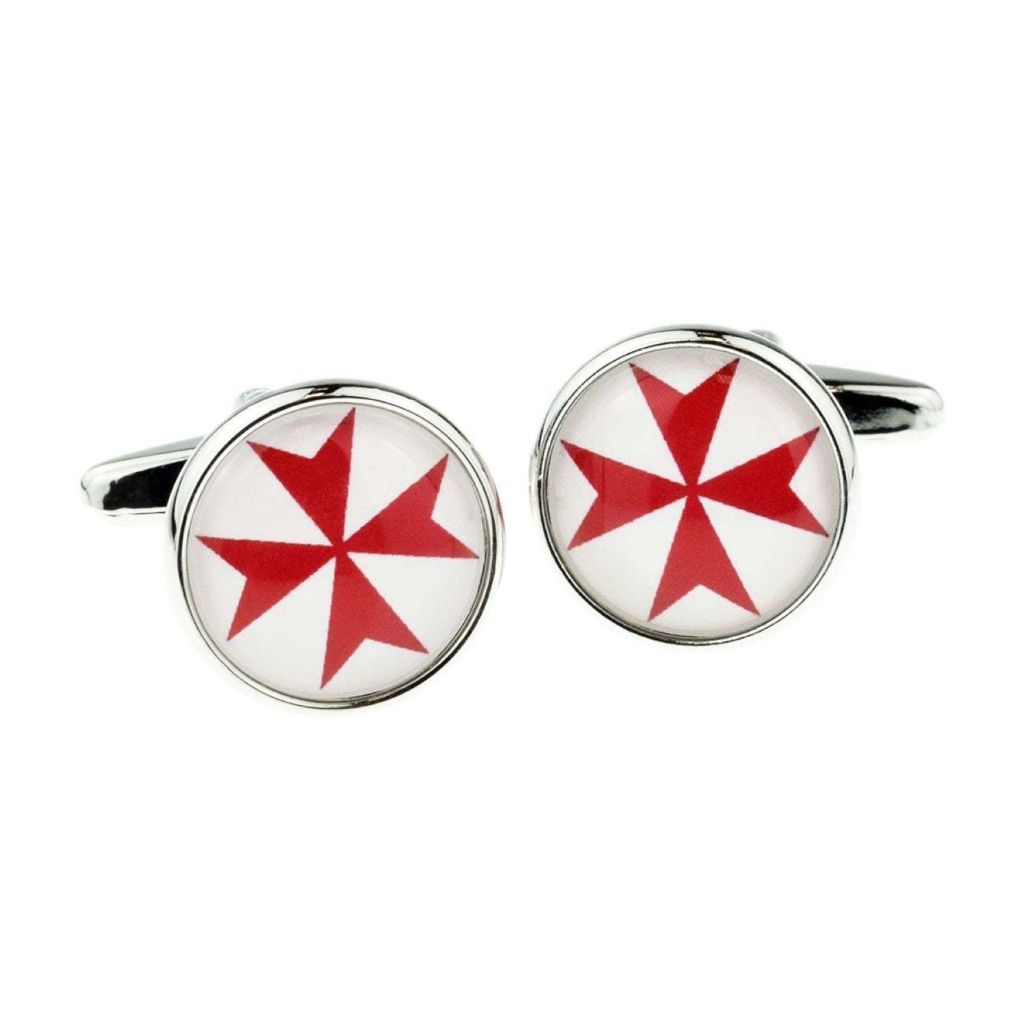 Red Maltese Cross Round Frame Cufflinks   cuff links in gift box