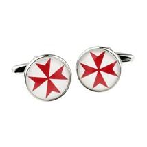 Red Maltese Cross Round Frame Cufflinks   cuff links in gift box