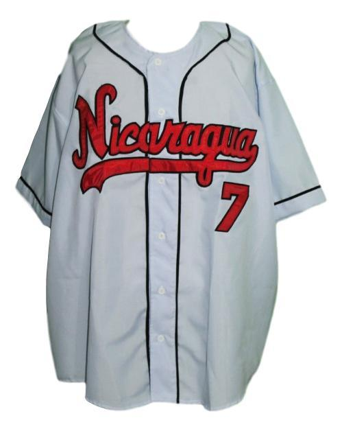 Custom Name # Team Nicaragua Retro Baseball Jersey Button Down Grey Any Size