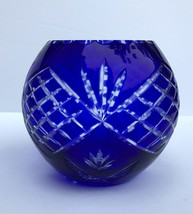 Bohemian Czech Cased Cobalt Blue Hand Cut To Clear Large Glass Bowl - $125.00