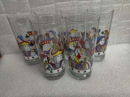 Vintage Libbey King and Queen Playing Card Poker Glasses Set of Six 12 oz. - $19.98