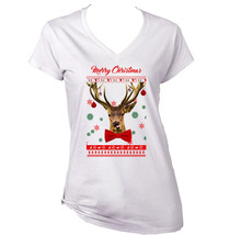 Merry Christmas Reindeer Funny - New White Cotton Lady Tshirt - $21.51