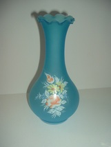 Westmoreland Glass Blue Mist Rose Daisy Decal Vase - $29.99