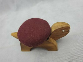"Vintage Figural TURTLE Sewing Pin Cushion wood maroon 5.5"" image 2"