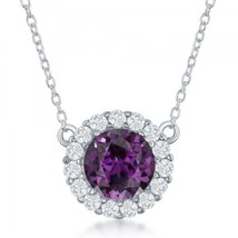 Sterling Silver Amethyst & White Topaz Pendant Necklace - $128.69