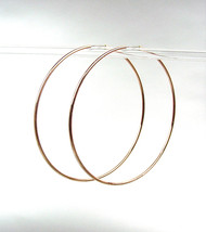 "CHIC Lightweight Thin Rose Gold Continuous INFINITY 2 1/2"" Diameter Hoop Earring - $16.99"