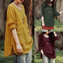 S-5XL Vintage Women Long Sleeve  Cotton Loose Casual Tops Blouse T-Shirt Plus