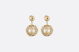 Authentic Christian Dior Gold Tone & Resin Bead Secret Cannage CD LOGO Earrings - $429.99