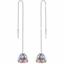 Aurora Borealis Dangling Chandelier Earrings in 14K White Gold - $9.80