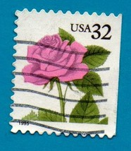Scott  #2492 Used 32c US Postage Stamp Pink Rose - $1.99