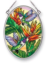 Amia Hummingbirds and Golden Heliconia, Hand-Painted Glass Oval Suncatcher, 4-1/