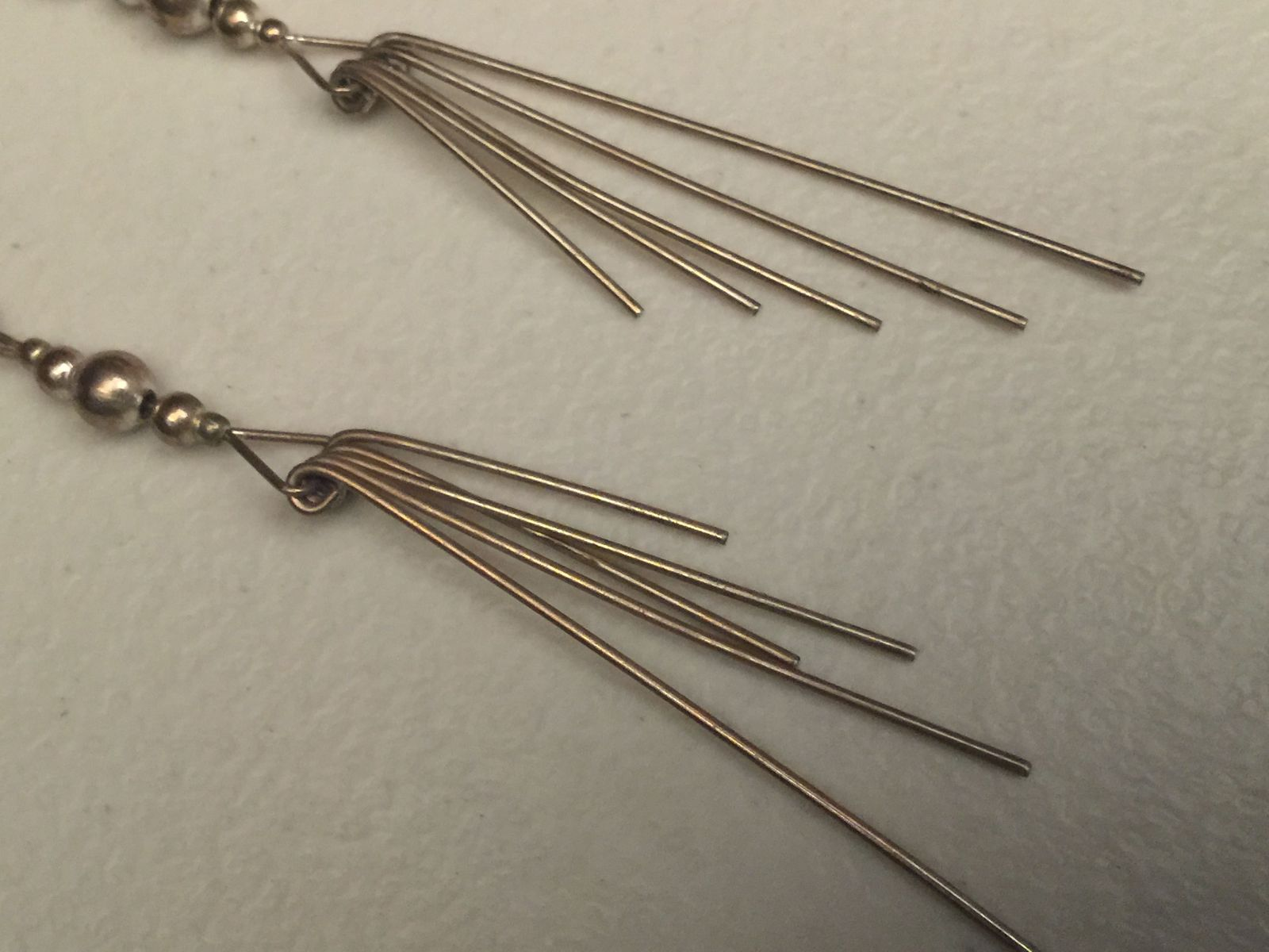 VTG 80s Long Dangling Silver Wire/Beaded Fish Hook Boho Punk Pierced Earrings image 8