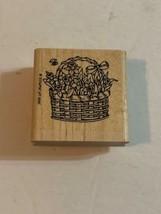 Stampin Up Flower Floral Basket Wood Mounted Rubber Stamp 1995- NEW - $2.99
