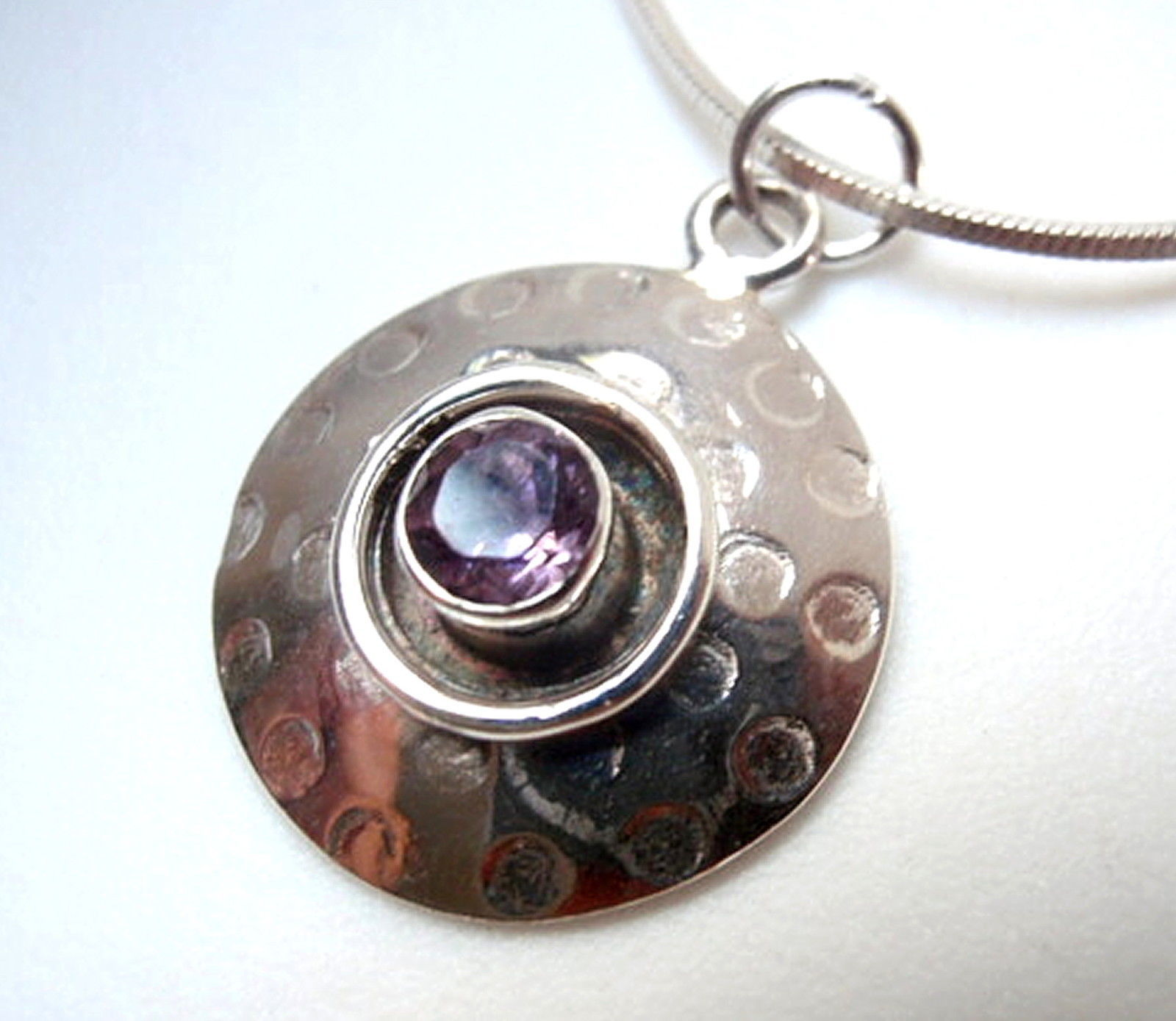Primary image for Amethyst Hammered Silver Border 925 Sterling Silver Necklace New