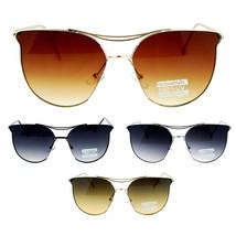 SA106 Womens Exposed Flat Panel Lens Retro Metal Horn Rim Sunglasses - $12.95