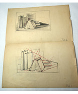 "17"" Antique 1920s Pencil Sketch Drawing Mrs. Lester Bennett Old Books Study - $56.99"