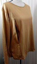 Breastfeeding Nursing Long Sleeve Tee Gold S Long Sleeve Stretch Cotton NEW - $9.97