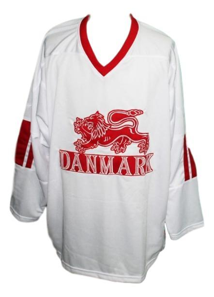 Custom name   team denmark hockey jersey white   1